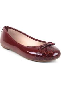 Sapatilha Tag Shoes Croco Laço Verniz Feminino - Feminino-Bordô