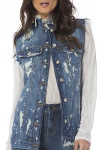 ... Colete Jeans Denim Zero Destroyed Feminino - Feminino-Jeans 0907818ad8867