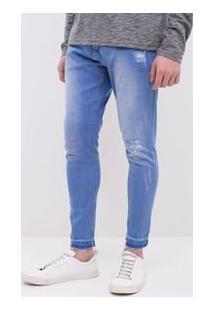 Calça Cropped Em Jeans