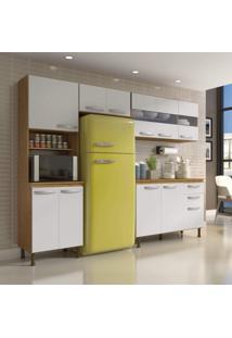 Cozinha Compacta 4 Peças Balcão Com Tampo 3 Portas De Vidro Lara Siena Móveis Sinai/Branco