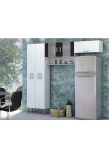 Cozinha Compacta Quartz 7 Portas Linho Branco/Preto - Kits Paraná