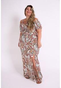 Vestido Kaue Plus Size Longo Com Fenda Feminino - Feminino-Laranja