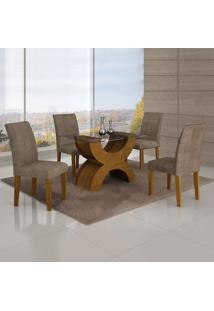 Conjunto Mesa Olimpia New 1,20X0,80M 4 Cadeiras Animale Capuccino - 7338.30.39.15 Leifer