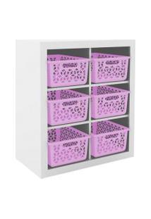 Armário Organizador Og2201 Branco/Rosa - Tecno Mobili