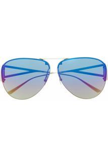 Bottega Veneta Eyewear Óculos De Sol Aviador 1066S - Azul