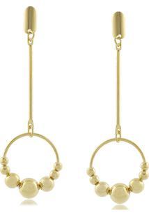 Brinco P.R.A. Folheados Pêndulo Com Círculo De Bolinhas Dourado