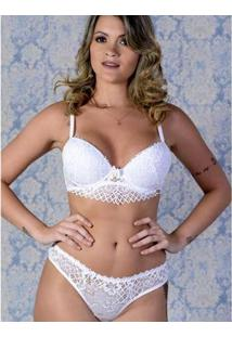 Bralette - Conjunto De Calcinha E Sutiã Yasmin Lingerie Feminino - Feminino-Branco