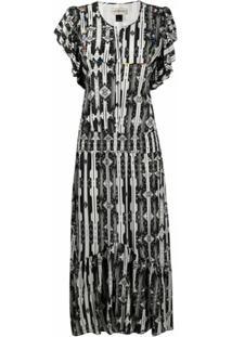 Jessie Western Vestido Com Estampa Geométrica De Seda - Preto