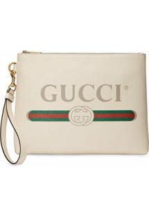 Gucci Clutch Com Estampa De Logo - Branco