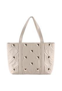 Bolsa Shopping Bag Gabriela Com Matelassê Off White