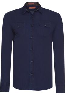 Camisa Masculina Denim Lisa 2 Bolsos - Azul