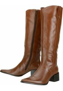 Bota Encinas Leather Montaria - Feminino-Caramelo