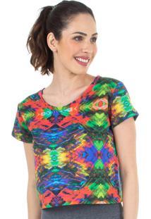 Top Cropped Estampa Multicolorido | 506.8211