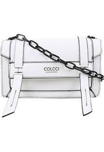 Bolsa Colcci Flap Crossbody Lisa Alça Corrente Feminina - Feminino-Branco