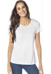 Camiseta Cora Básico Decote Redondo Modal Feminina - Feminino-Branco