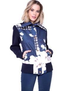 Jaqueta Detalhe Tricot Lança Perfume - Feminino-Azul