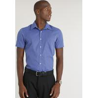 83eeb1e640 Camisa Masculina Comfort Estampada Xadrez Com Bolso Manga Curta Azul