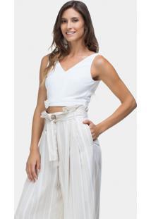 Calça Pantalona Listrada Cinto Branco Off White - Lez A Lez