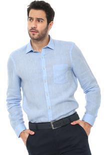 Camisa Linho Richards Reta Bolso Azul