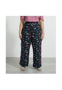 Calça Pantalona Em Viscose Estampa Gatinhos Curve & Plus Size   Ashua Curve E Plus Size   Preto   52