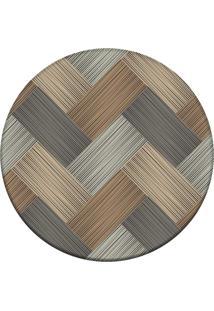Tapete Love Decor Redondo Wevans Abstract Wood Multicolorido 84Cm