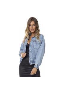 Jaqueta Jeans Denim Zero Retrô Com Elástico