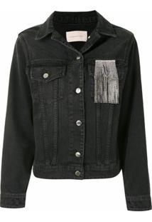 Christopher Kane Jaqueta Jeans Com Franjas E Cristais - Preto