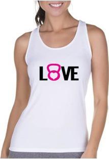 Regata Criativa Urbana Cavada Fitness Love - Feminino-Branco
