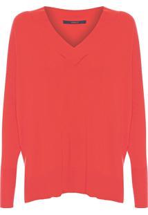 Blusa Feminina Tricot Decote V Longo - Vermelho
