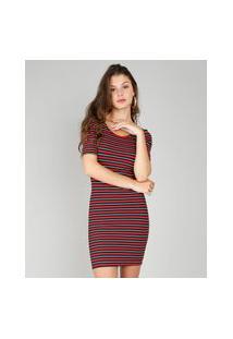 Vestido Feminino Listrado Curto Canelado Vermelho