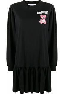 Moschino Vestido Teddy Bear Com Aplicação De Contas - Preto