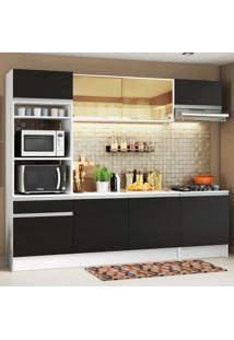 Cozinha Completa Madesa Diamante Com Armário, Balcão E Tampo Preto