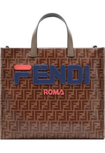 Fendi Bolsa Fendimania Shopping Pequena De Couro - Marrom