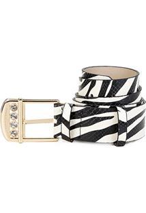 Cinto Couro Jorge Bischoff Zebra Feminino - Feminino-Branco+Preto