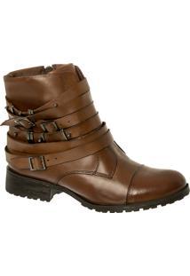Ankle Boot Em Couro Havana Com Fivelas