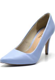 Sapato Scarpin Salto Alto Fino Em Napa Azul Serenity - Kanui