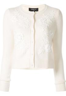 Paule Ka Cardigan Com Renda Floral - Branco