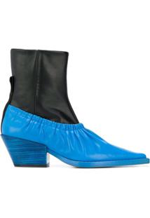 Joseph Ankle Boot Color Block De Couro - Preto