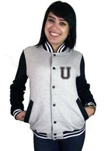 Jaqueta College Feminina Universitária Americana - Letra U - Feminino-Cinza