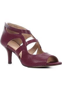 Sandália Shoestock Cobra Salto Médio Feminina - Feminino-Vinho