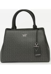 Bolsa Com Bag Charm- Cinza Escuro & Preta- 21X29X9Cmguess