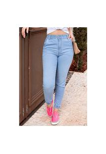 Calça Jeans Mom Jogger Sob Azul Clara Com Elastano