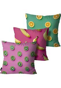 Kit Com 3 Capas Almofadas Mdecore Frutas 55X55 Rosa