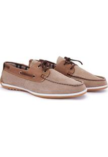 Dockside Casual Couro Camurça Euroshoes Masculino - Masculino-Bege