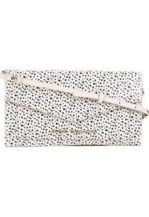 Bolsa Couro Jorge Bischoff Clutch Estruturada Envelope Verniz Feminina - Feminino-Off White+Preto