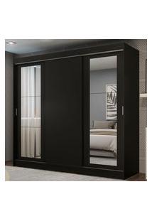 Guarda-Roupa Casal Madesa Kansas 3 Portas De Correr Com Espelhos 3 Gavetas Preto Cor:Preto