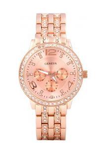 Relógio Feminino Geneva Quartzo De Aço Com Rhinestone - Ouro Rose