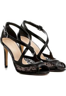 Sandália Shoestock Salto Fino Renda Feminina - Feminino-Preto