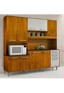 Cozinha Compacta Ágata 10 Pt 2 Gv Caramelo E Off White