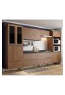 Cozinha Compacta Calábria Paneleiro, Aéreos E Balcões Com Pés Nogueira